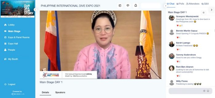 Secretary Bernadette Romulo-Puyat officially opens the virtual edition of the Philippine International Dive Expo