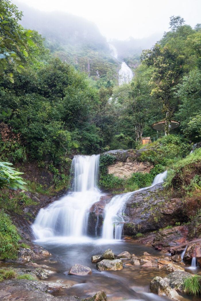 Silver waterfall or Thac Bac in Vietnam photo via Depositphotos