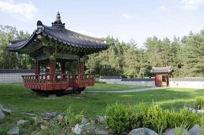 Traditional Korean style pagoda in Hryshko National Botanical Garden photo via Depositphotos