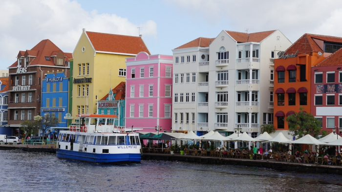 View of Willemstad in Curacao. The city centre, with its unique architecture and harbour entry, has been designated a UNESCO World Heritage Site.