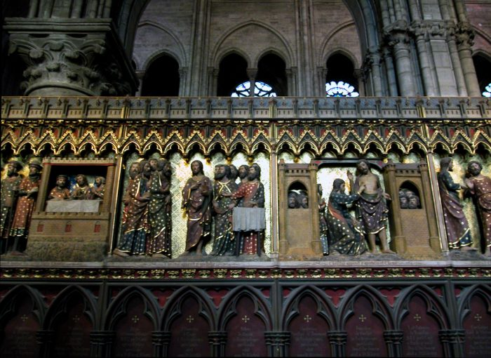A sculpted frieze depicting the life of Christ.