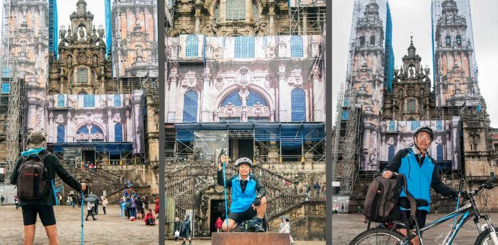 That's me arriving at the Cathedral after biking the Camino.