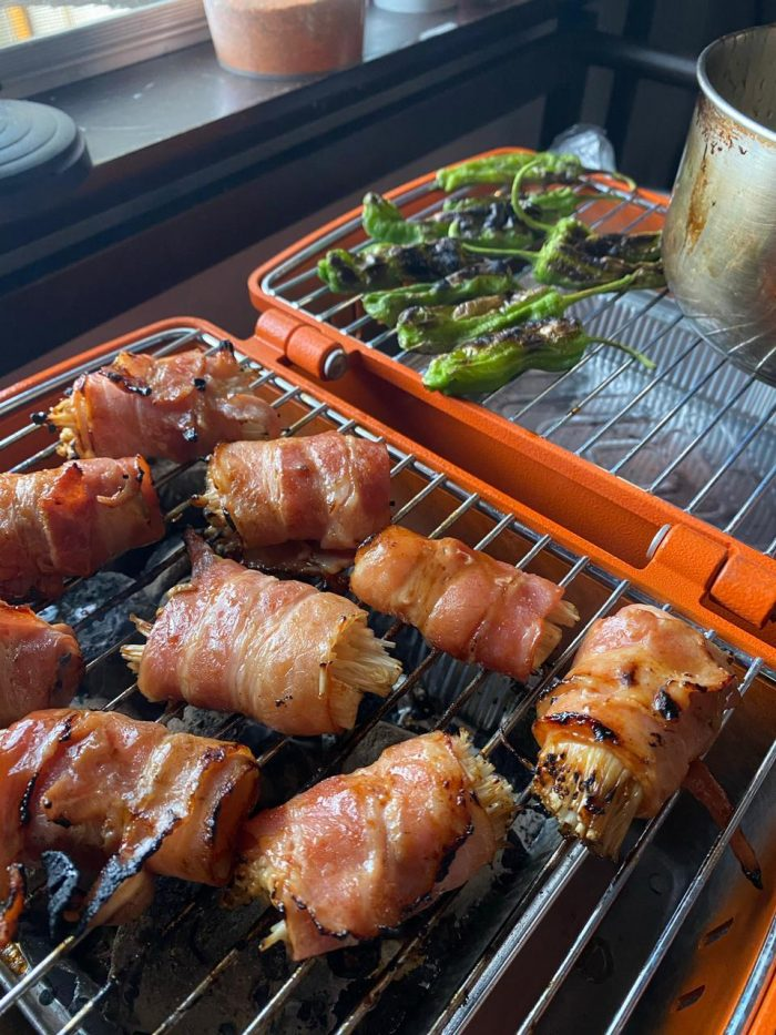 April 15 Class - Enoki wrapped in bacon with tare glaze (Photo by Che Him Uy de Baron using ANIVA Prtk Portable Charcoal Grill from Rustan's)