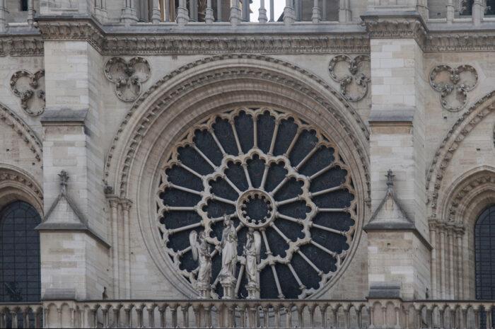 Notre Dame Paris Detail of the front facade.