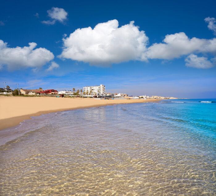 Playa de la Mata beach in Torrevieja of Alicante in Spain photo via Depositphotos
