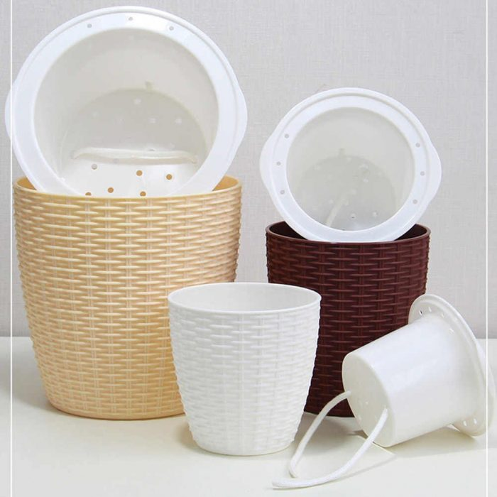 Self Watering Plant Pot Cover Indoor Plastic Rattan