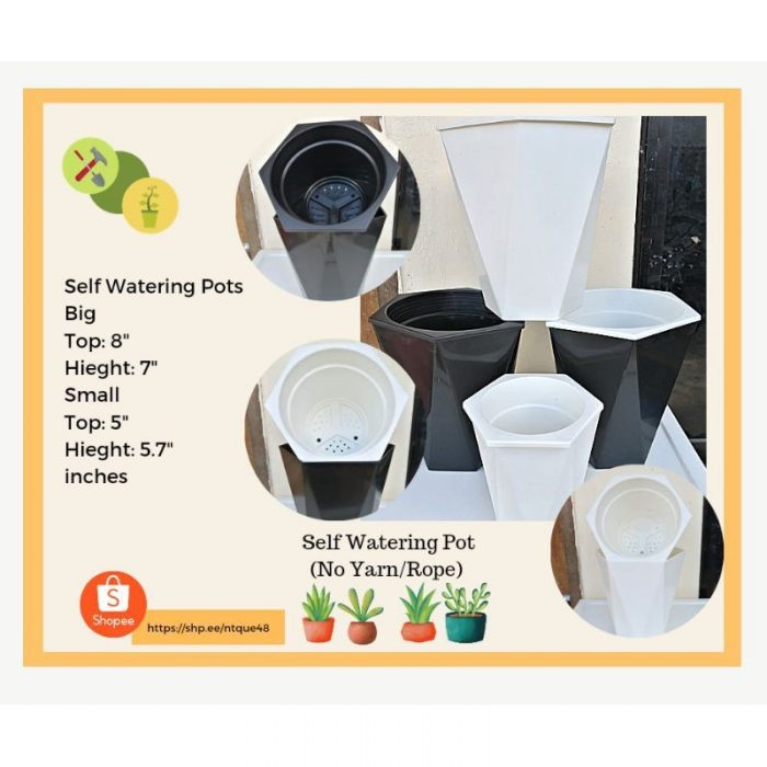 Self Watering Pots White Black High Quality Modern Plastic Pots Plant Holder NO ROPE OR YARN