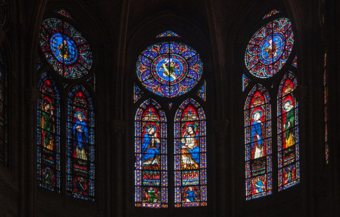 Stained glass above the Notre Dame altar.