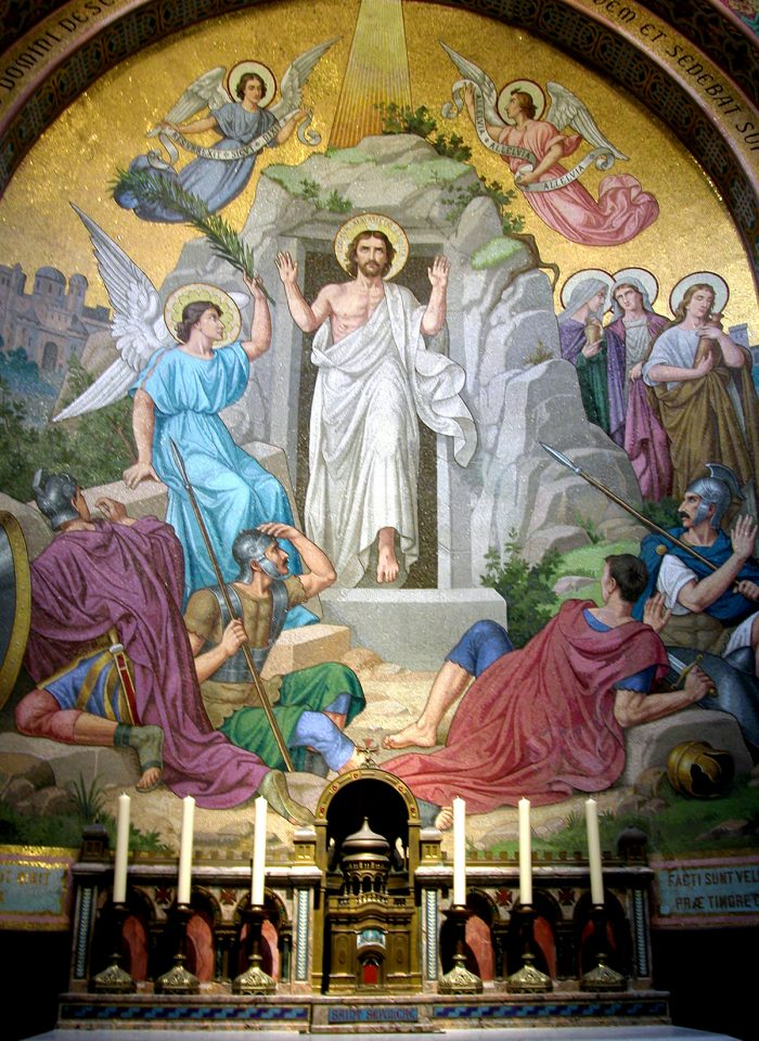The Resurrection depicted in the glass mosaic wall.