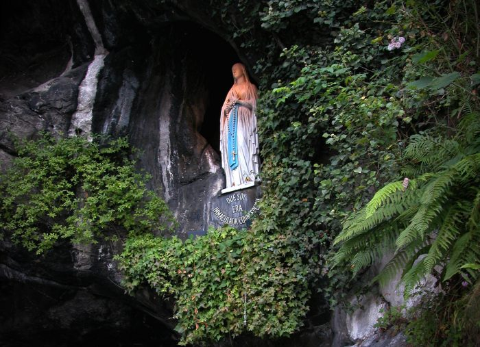 The Virgin in the cave where the apparition took place.