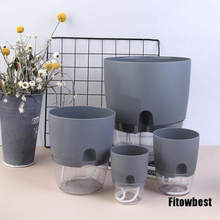 Transparent Plastic Self Watering Plant pot