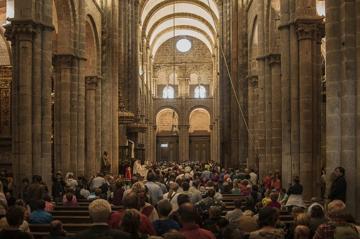 Home.fit We-attended-the-noontime-Mass-packed-to-the-rafters.-700x465 Europe Visita Iglesia #5: Santiago de Compostela Cathedral in Spain