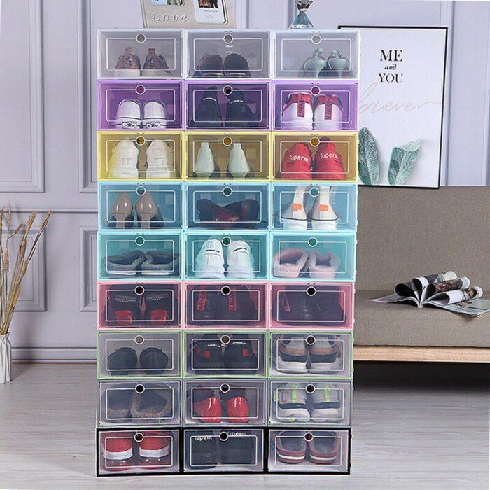 Organizador plegable del almacenamiento de la caja del cajón de la caja de zapatos del color del caramelo