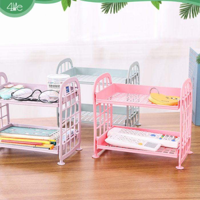 Double layer hollow cosmetic shelf organizer