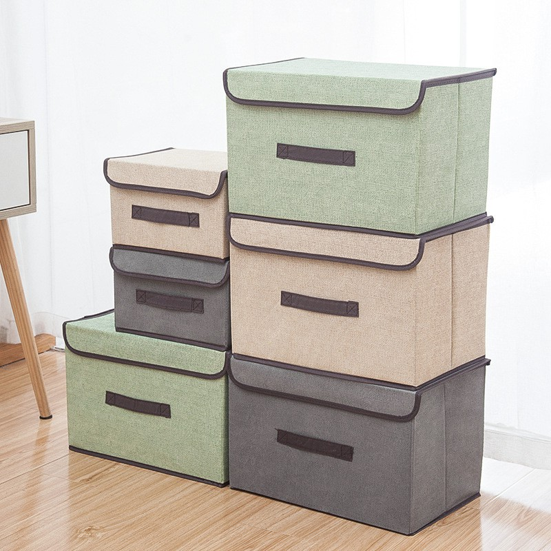 Foldable Storage Box Organizer With Cover Set
