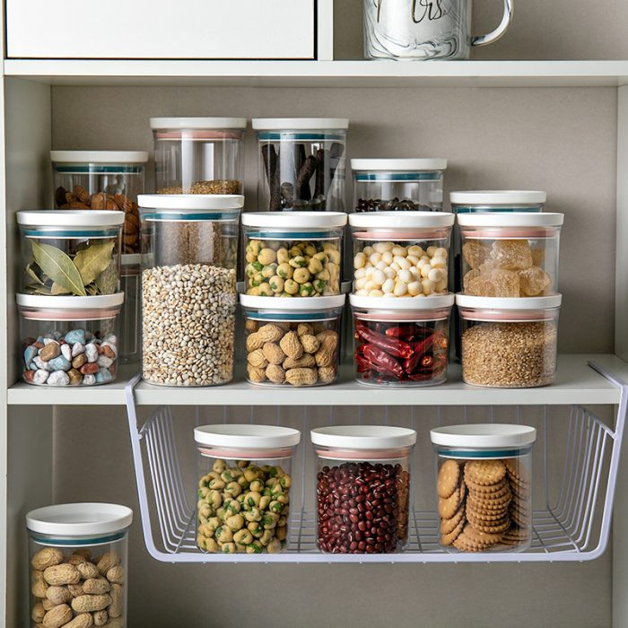 Sealed pantry organizer retains dry storage