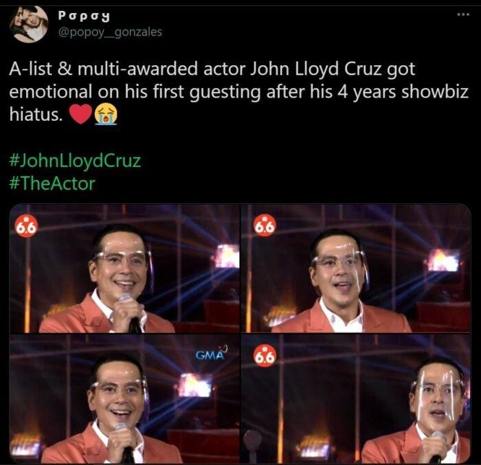 John Lloyd Cruz's emotional comeback