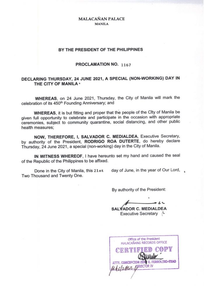 Palace declares June 24 as special non-working day in Manila