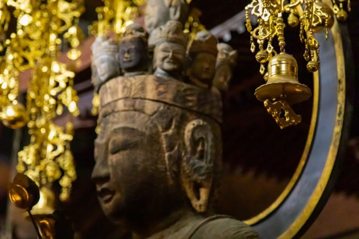 The sacred 1300-year-old Kannon statue