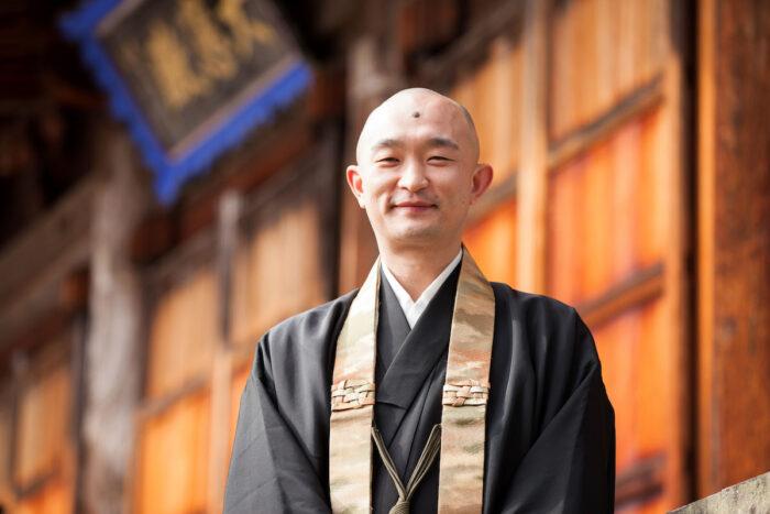 Yusho Ogawa during the monthly fire ritual