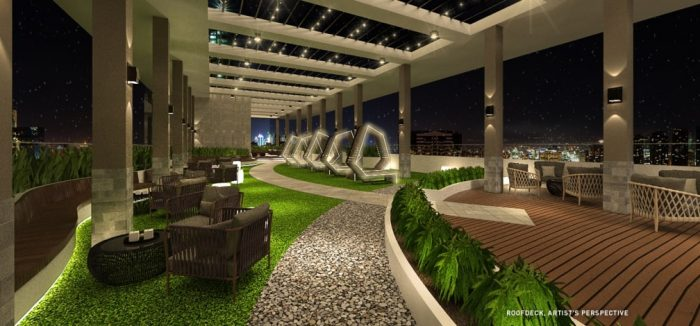 On the top floor there is a heavenly lounge, which offers a panoramic view of the pulsating silhouette of Metro Manila.