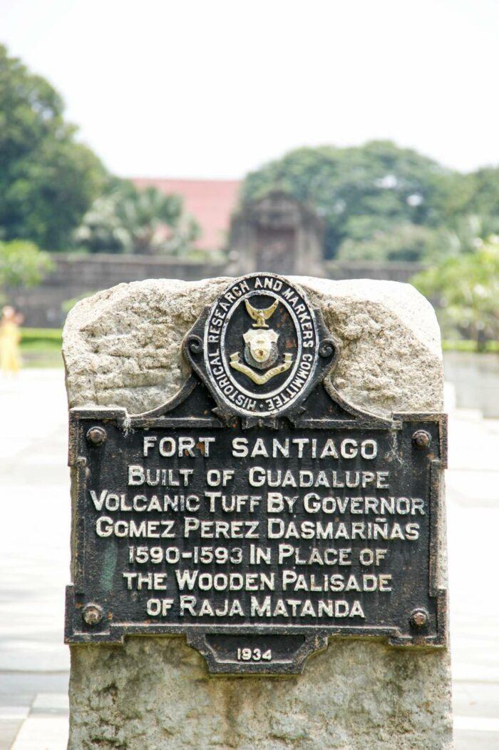 Fort Santiago Historical Marker