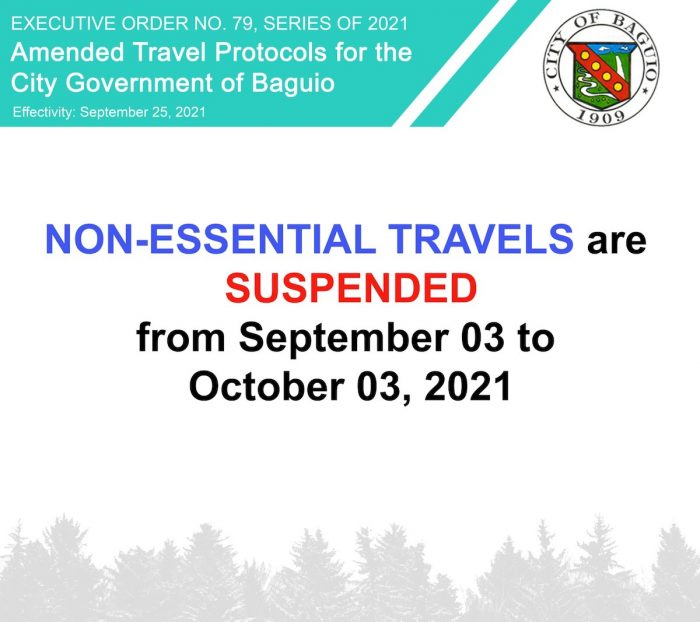 Non Essential Travel Baguio September to October 2021