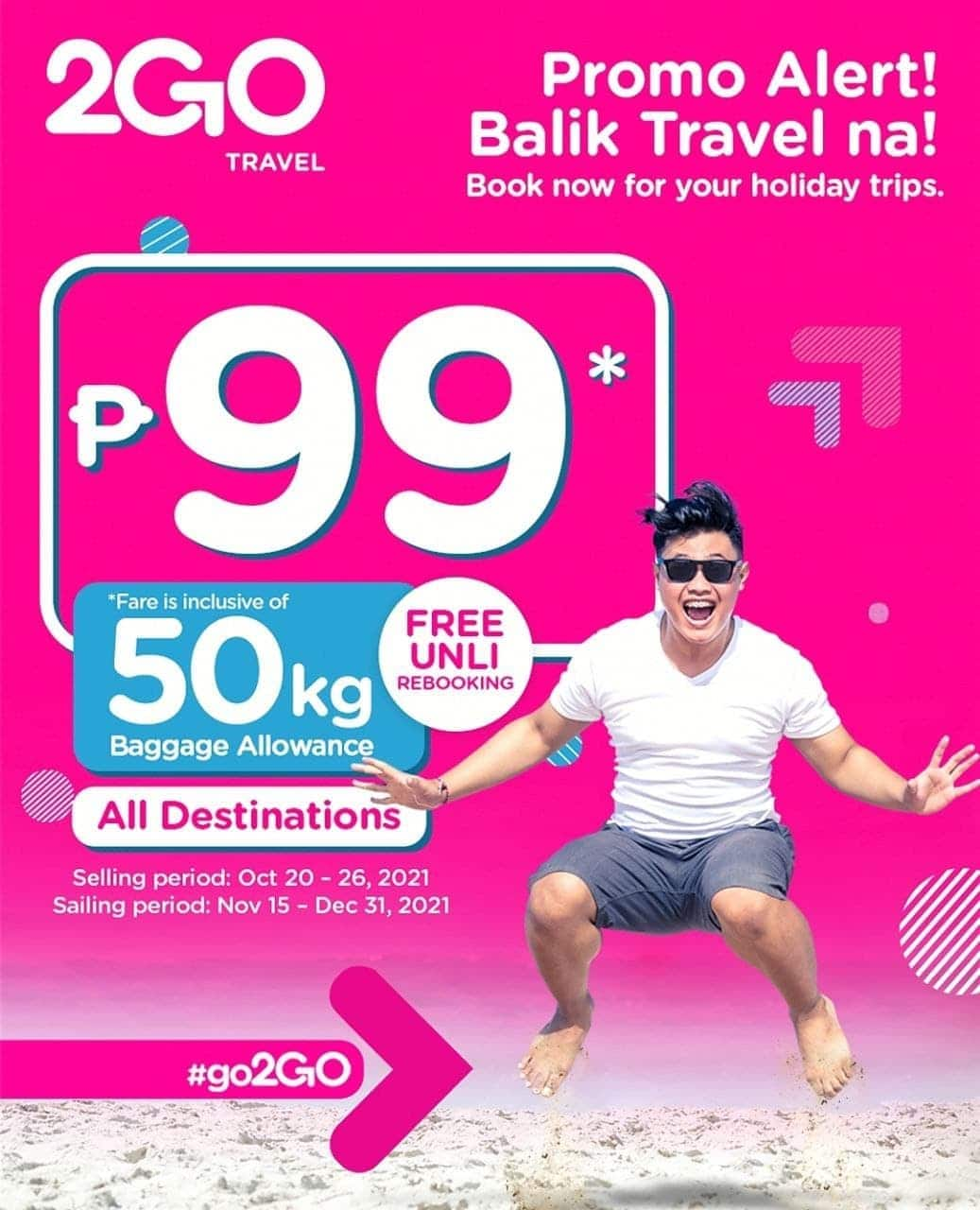 2GO Travel P99 Promo - 2GO Travel Destinations Now Accept Vaccination Cards In Lieu of Swab Tests
