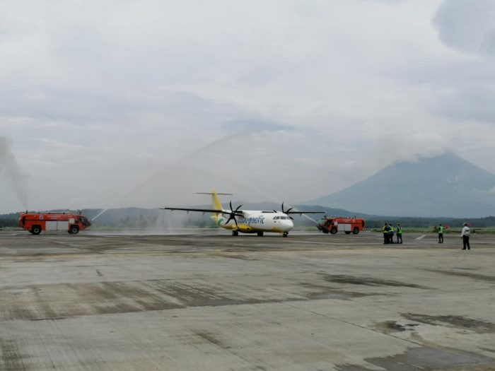 """Cebu Pacific maiden flight from Manila to Legazpi landing in the newly inaugurated Bicol International Airport (BIA)—touted as the country's """"most scenic gateway"""" with the iconic Mayon Volcano at its backdrop."""