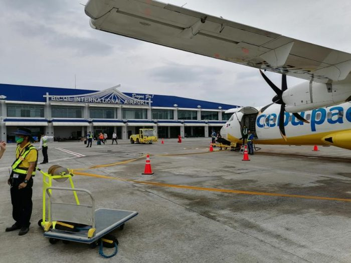 Cebu Pacific Manila to Legazpi maiden flight in front of the newly inaugurated Bicol International Airport