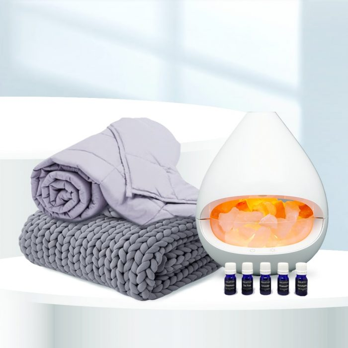 (L to R) Weighted Blanket with Cooling Duvet Cover, Knitted Weighted Blanket _ Solstice Aromatherapy Set.png